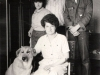 Burshtein family: sitting - Inneta ; standing, from the left - Alina, Edward and Alik, and their dog Dina. Leningrad, 1980s.