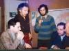 Seminar on Jewish culture in  Felix Aranovich's  apartment. From the left: Boris Granovsky, Felix Aranovich, Lev Furman, Ilya Shostakovsky, Alexander Zaezdny. Leningrad, the middle of 1970s, co RS