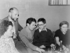 A guest from USA meets with refuseniks in  Ella and Ilya Ginzburg's apartment. From the left: Ella Ginzburg, Aba Taratuta, Ilya Ginzburg, visitor from USA, Fanya Ginzburg. Leningrad, the middle of 1970s. co RS