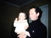 Leonid Kelbert with a baby, Leningrad, 1986, co Frank Brodsky