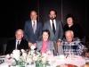 First row: Frank Brodsky co, Hilda Naim, Leon Uris; Second row: Asher Naim, Israel's Ambassador to Finland, Michael Naiditch, Leon Uris's sister, Helsinki, Finland, 1989