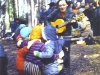 Children of the Jewish kindergarten are guests in Ovrazhki. The kids are dancing to the accompaniment of David Tokar. Moscow, Ovrazhki forest, 1978. co RS
