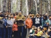 The next question turned out to be a tough one. The children are thinking. In the center, holding the note pad is Aharon Gurevich. Moscow, Ovrazhki forest, 1980 co RS