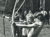 All main Jewish holidays were celebrated in Ovrazhki. Traditional competition of bow and arrow shooting in memory of Rabbi Akiva' disciples were held on Lag ba-Omer. From the right: Dima Shwartzman, Efraim Rozenstein, Zhenya Kremen, Sasha Kremen. Moscow, Ovrazhki forest, May 1977. Photo by Michael Kremen. co RS