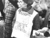 Demonstration on behalf of Yosef Begun.  Inna Begun (Shlemova), wife of Yosef, is carryng a poster. Moscow, Arbat, 1987, co RS