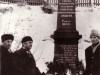 Naum  Olshansky, Lev Ovsishcher co  and Efim Davidovich at the monument to 5000 Jews murdered in Minsk by nazis, 1975