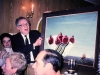 Leonid Stonov presenting a painting in the UCSJ meeting, Moscow, 1989, co Frank Brodsky