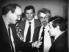 An intervew with an Israeli correspondent. From the left: correspondent, Yuli Edelstein, Yuli Kosharovsky, Mikhail Chlenov, Moscow, 1987