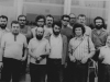 A group of demonstrators in a farewell for Mikhail Babel, Moscow, 1973. First row: Mark Nashpitz, Boris Tsitlenok, Zakhar Tesker, ??. Second row: Valeri Krijak, Arkadi Lurie, Leonid Tsipin, Alexander Lipavsky, Lev Gendin , Arkadi Rutman, Lev Kogan, Mikhail Babel.