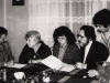 Peter Liacouras, Dean of Temple University Law School, Ida Milgrom, Dina Beilin, Burton Caine, lawyer from Philadelphia, and Leonid Sharansky working together on Sharansky case, Moscow, 1978, co Dina Beilin