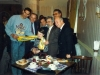 Reception for Israeli basketball team in Cafe Vltava, Moscow 1988.  Doron Jamshi (left), Yuli Kosharovsky 3 from right.