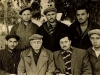 In the prison camp Dubrovlag. Seated from the left:Jora Nutsuev, Meir Draznin (Kiev), Iosif Shnider (Riga), David Khavkin co (Moscow). Standing: Haim Kaufman-Koristen, Anatoli Rubin (Minsk), Dov Sperling (Riga), 1960.