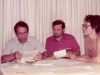 1976. Alexander Luntz works with documents on separated families with his colleagues. From the left: Alexander Luntz, ?, ?. Moscow, 1976, co RS