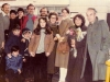"""1979, British Jews meet in London airport former refuseniks, actors Olga Serova (second from the right) and Evgeny Kozhevnikov (fifth from the right), who came in England on tour with their play """"The Refuseniks"""". December, 1979. co RS"""