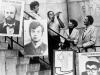 Shofar of freedom for Soviet Jewry on Sharansky steps. From the left: Lynn Singer, ? (with shofar), ?, ?. USA, 1979. co RS