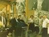 Israeli delegation to International Book Fair before departure from Ben Gurion airport : Shmuel Shatsky,?, Dita Gurevich, Avital Simon, Rina Firstenberg, Arie Krol, Moshe Melamed. August, 1985