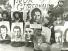 Jerusalem volunteers demonstrate for Prisoners of Zion, Carmi Wurtman holding poster of Ida Nudel, co Enid Wurtman