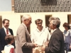 US Ambassador Brown welcoming leading refusenik Yuli Kosharovsky to Israel after his 22 year struggle for aliya.  US Ambassador Brown, Shmuel Ben Tsvi, Yuli Kosharovsky, April, 1989, co Enid Wurtman