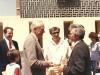 US Ambassador Brown welcoming leading refusenik Yuli Kosharovsky to Israel after his 22 year struggle for aliya.  US Ambassador Brown, Shmuel Ben Tsvi, Yuli Kosharovsky, April, 1989, co Enid Wurtman