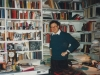 Martin Gilbert in his study in London with photos of  refuseniks