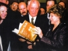 Wendy Eisen presents her book, Count Us In, the Struggle to Free Soviet Jews, to Mikhail Gorbachev, the initiator of