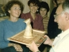 Refuseniks with presents for Israeli delegation, Moscow, September 1985. Tania Edelstein presents a gift to Moshe Melamed