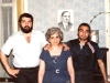 Itzhak  and Betzalel Shalolashvili with their mother and a portrait of their late father on the wall. Tbilisi, 1986, co RS