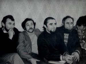 Во время подготовки симпозиума по еврейской культуре, Москва, 1976 слева-направо: Владимир Престин, ? Гольдин, Лев Ройтбургб, Иосиф Бегун.