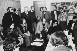 Вениамин Файн выступает на пресс-конференции, посвященной симпозиуму по еврейской культуре, Москва, 17 ноября 1976 года