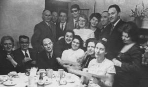 At Hanuka celebration, Riga Dec. 7 1969. Standing l-r: ?, Eliyahu Yoeli, Dola Borin, Lev Yoely, Margalit Spielberg, Silva Zalmanson, ?, Aharon Spielberg co, Liza Borin, Dec. 7.1969
